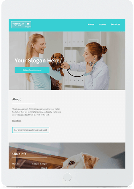 Website builder Veterinary Clinic responsive template