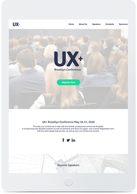 Website builder Conference responsive template