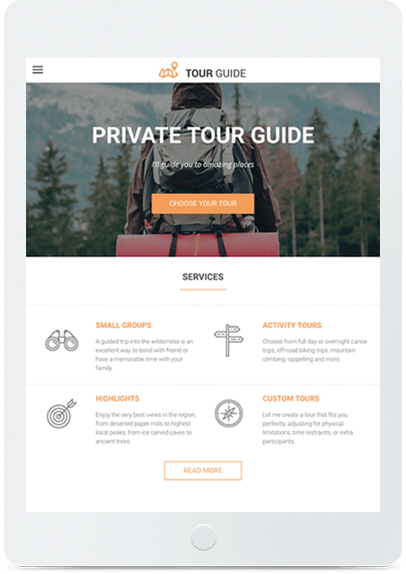 Website builder Tour Guide responsive template