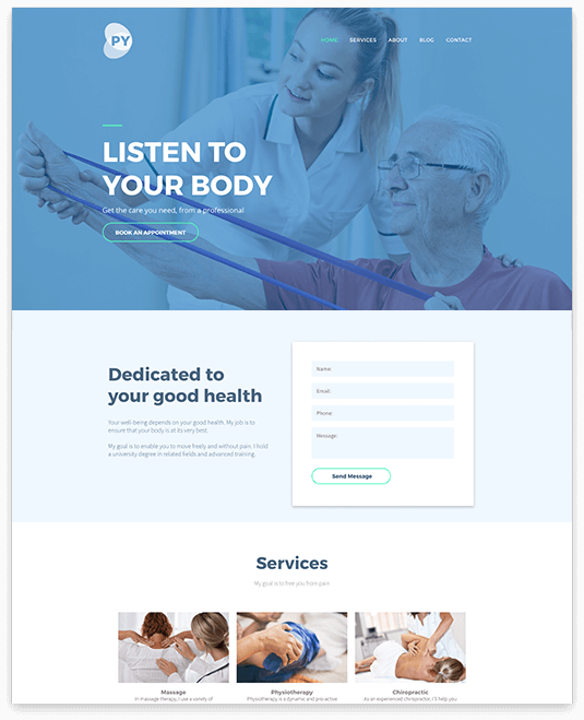 Website builder Physiotherapist responsive template
