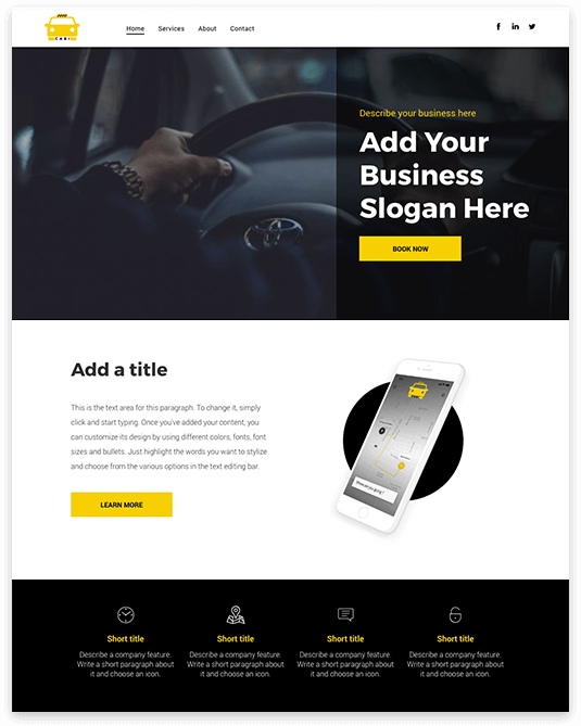 Website builder Cab Service responsive template